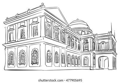 Singapore Nation Museum Tourist Vacation, Famous Destination Landmark, Hand drawn Vector Artwork