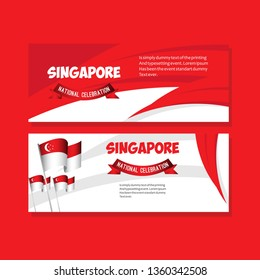Singapore National Celebration Poster Vector Template Design Illustration