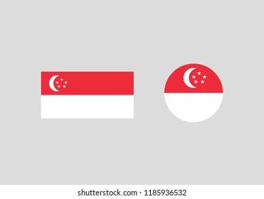 Singapore national flag set country emblem state symbol
