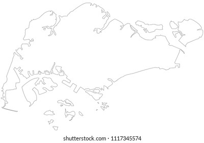 Singapore outline map.  Map black outline Republic of Singapore
