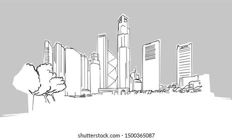Singapore Panorama Skyline Vector Sketch. Hand Drawn Illustration on grey background.