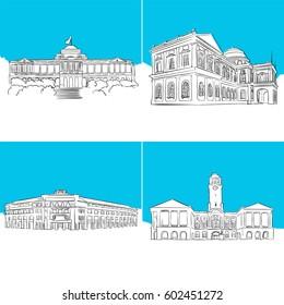 Singapore Public Landmark Vector Sketches, hand-drawn outline Illustration