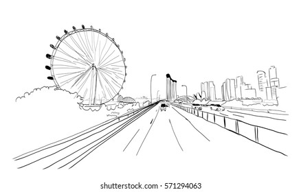 Singapore road with wheel in vector sketch.
