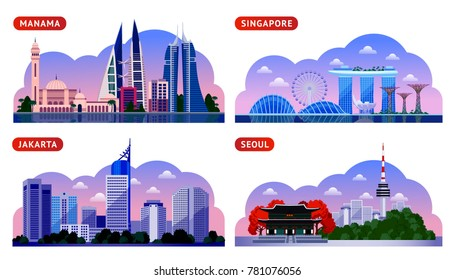 Singapore, Seoul, Jakarta, Manama. Bahrain, South Korea, Indonesia. Horizontal panoramic night view. Travel to Asia. Set of vector flat illustration.