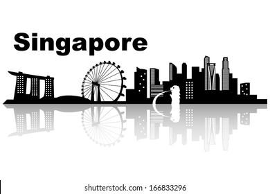 Singapore skyline - black and white vector illustration