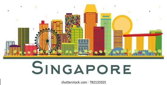 Singapore Skyline with Color Buildings Isolated on White Background. Vector Illustration. Business Travel and Tourism Concept. Singapore Cityscape with Landmarks.