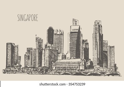 Singapore skyline detailed silhouette. Hand drawn, engraved vector illustration