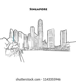 Singapore skyline drawing. Hand-drawn vector sketch of singapores finance district.