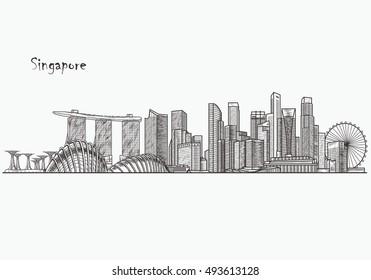 Singapore skyline. Hand drawn vector illustration