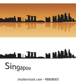 Singapore skyline in orange background in editable vector file