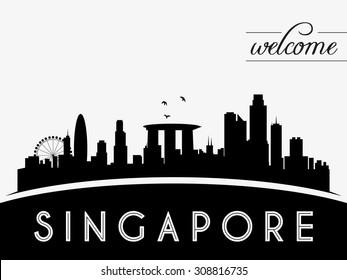 Singapore skyline silhouette black and white design, vector illustration