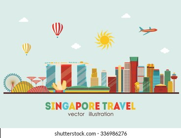 Singapore skyline. Vector illustration