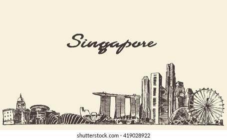 Singapore skyline, vector illustration, hand drawn, sketch