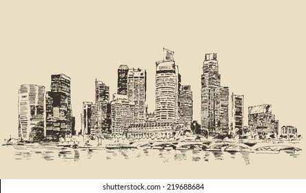 Singapore, skyline, vintage engraved illustration, hand drawn, sketch