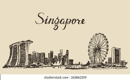 Singapore skyline, vintage engraved illustration, hand drawn, sketch
