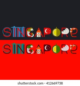 Singapore title with culture symbol illustration. Singapore symbols typography. Vector singapore banner. Merlion and singapore flag. Singapore wheel. Word Sinngapore made of Singapore attractions.