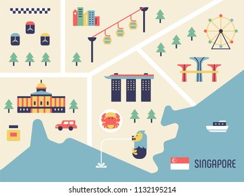 Singapore tourist map and landmark icons flat design style vector graphic illustration set