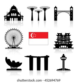 Singapore Travel Landmarks icon set. Vector and Illustration.