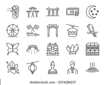 Singapore trip icon set. Included the icons as Merlion, Singapore flyer, Botanic gardens, Butterfly garden, casino, hotel, marina bay and more