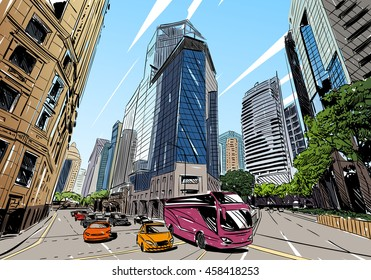 Singapore. Unusual perspective hand drawn sketch. City vector illustration