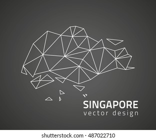 Singapore vector black triangle polygonal outline map