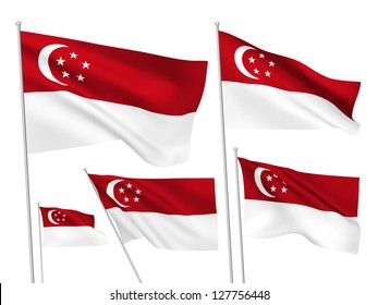 Singapore vector flags set. 5 wavy 3D cloth pennants fluttering on the wind. EPS 8 created using gradient meshes isolated on white background. Five flagstaff design elements from world collection