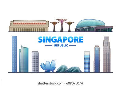 Singapore. Vector illustration. Most famous monument and buildings landmark.