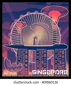 Singapore vector Illustration , Sands Sky Park, Art Science Museum,Singapore Flyer, Supertree Grove.Gardens by the Bay