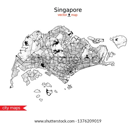 Singapore Vector Map Urban Area Highly Stock Vector (Royalty Free ...