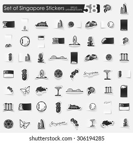 Singapore vector sticker icons with shadow. Paper cut
