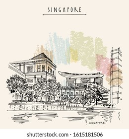 Singapore waterfront. City view from water. Travel sketch. Vintage travel postcard, poster. Artistic vector EPS10 illustration