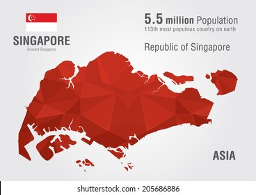 Singapore world map with a pixel diamond texture. World Geography