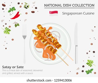 Singaporean Cuisine. Asian national dish collection. Satay isolated on white, infograpic. Vector illustration