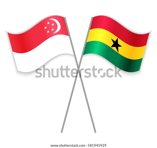 Singaporean and Ghanaian crossed flags. Singapore combined with Ghana isolated on white. Language learning, international business or travel concept.