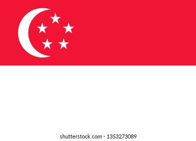 Singaporean or Republic of Singapore official flag symbol icon flat vector