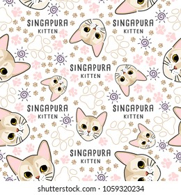 Singapura : Cat breed collection : Seamless Pattern : Vector Illustration