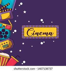 singboard lights film elements cinema movie vector illustration