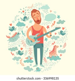 Singer cartoon guitarist playing guitar on a colorful background.  Isolated vector illustration