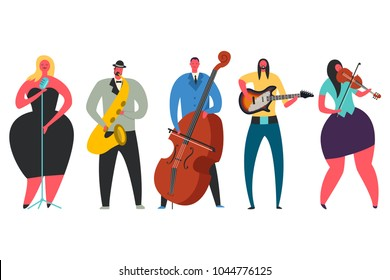 Singer, guitarist, saxophonist, double bass player, violinist character collection. Jas, pop, rock and classical music performers. Vector flat set of man and woman with musical instruments isolated.