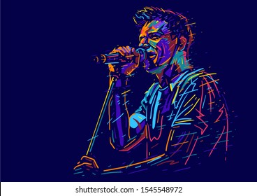 Singer man character. Abstract color vector illustration