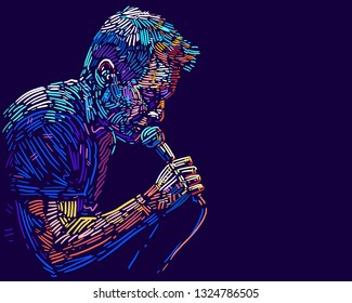 Singer man character. Abstract vector illustration