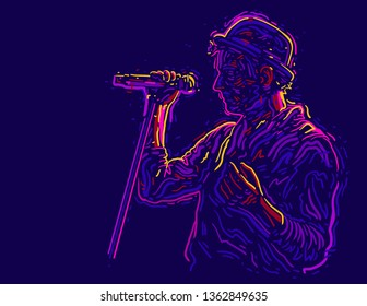 Singer man character in hat. Abstract vector illustration