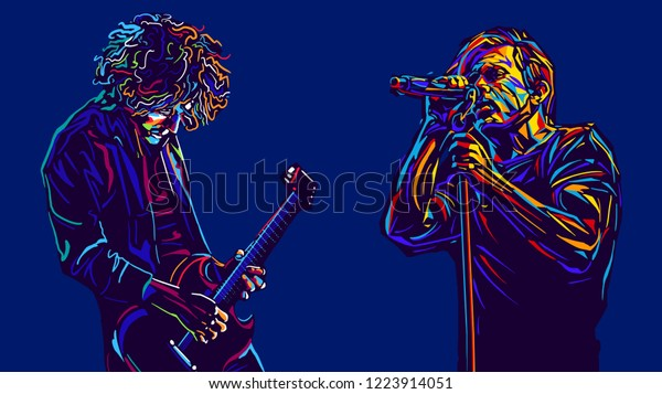 Singer man character and musician with a guitar. Abstract vector illustration  music poster