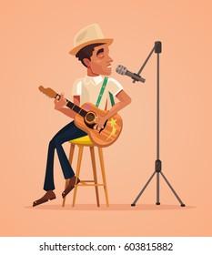 Singer man character sing song and play guitar. Vector flat cartoon illustration