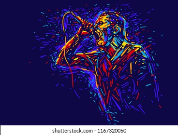 Singer man character.Abstract vector illustration with large strokes of paint