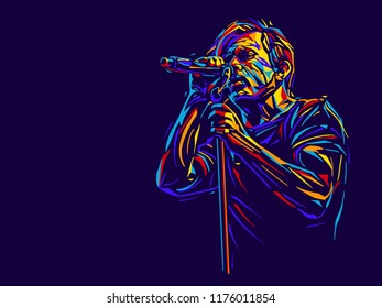Singer man character.Abstract vector illustration
