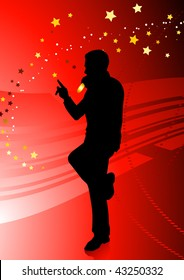 Singer on Red Background Original Vector Illustration  Music Player Ideal for Live Music Concept