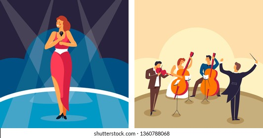 Singer and orchestra female artist on stage and musicians vector music performance pop and classic musical instruments and microphone woman in spotlights violin and cello conductor symphony and song