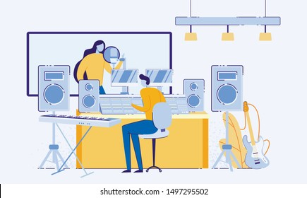 Singer in Recording Studio Flat Cartoon Vector Illustration. Singing Woman in Booth with Equipment and Window, Sound Engineer in Controling Sound with Tools for Mixing and Mastering Music.