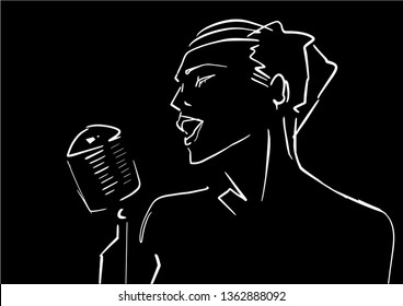 Singer silhouette. Female vocalist contour with microphone. White outline on black background. Back vocal illustration. Vector.